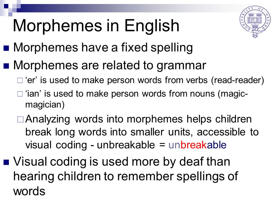 Morphemes in English Morphemes have a fixed spelling Morphemes are related to grammar  'er' is used to make person words from verbs (read-reader)  'ian' is used to make person words from nouns (magic- magician)  Analyzing words into morphemes helps children break long words into smaller units, accessible to visual coding - unbreakable = unbreakable Visual coding is used more by deaf than hearing children to remember spellings of words
