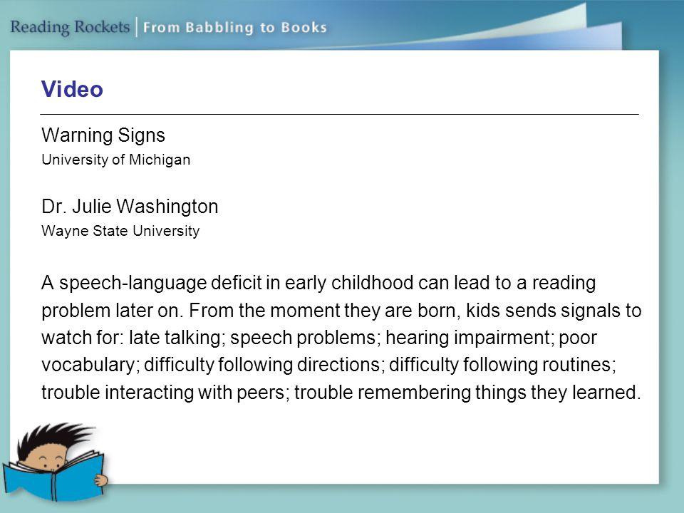 Video Warning Signs University of Michigan Dr.
