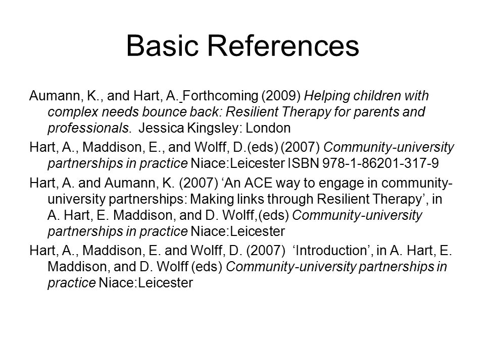 Basic References Aumann, K., and Hart, A.