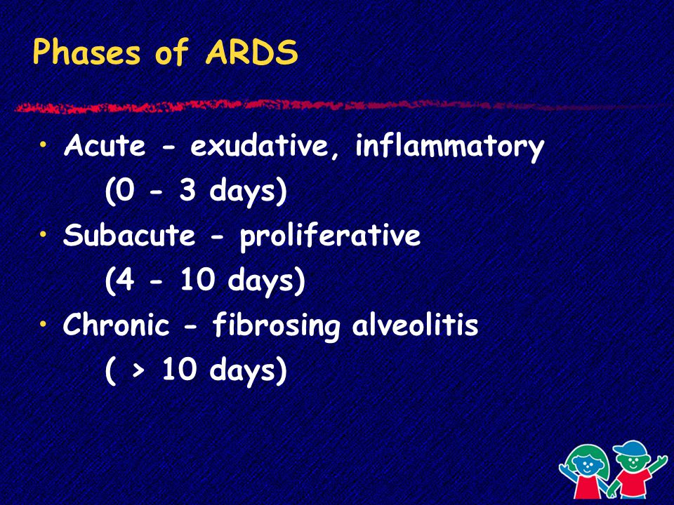 Phases of ARDS Acute - exudative, inflammatory (0 - 3 days) Subacute - proliferative (4 - 10 days) Chronic - fibrosing alveolitis ( > 10 days)