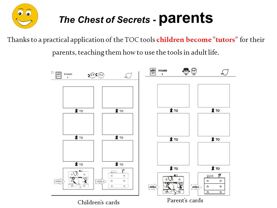 Thanks to a practical application of the TOC tools children become tutors for their parents, teaching them how to use the tools in adult life.