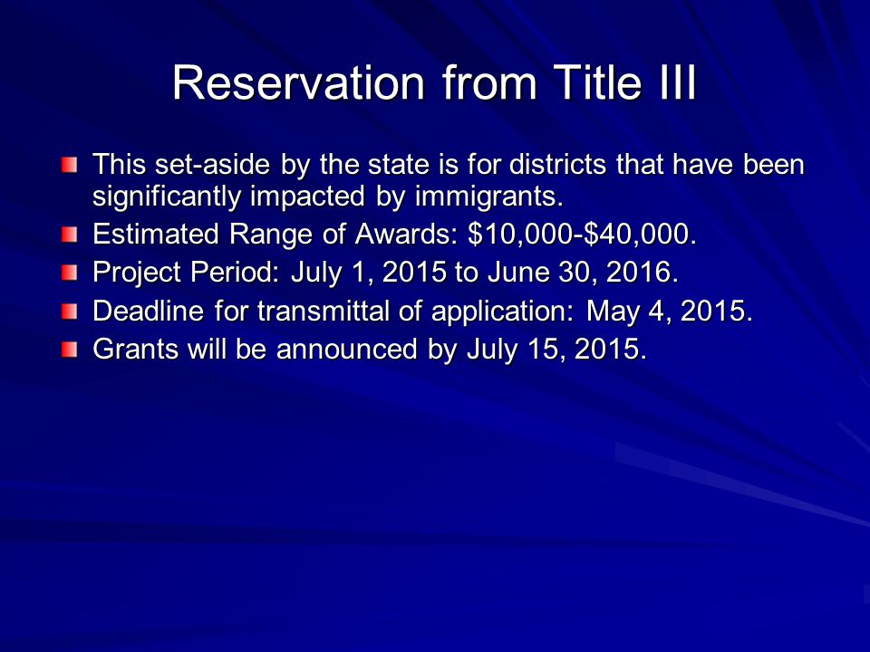 Reservation from Title III This set-aside by the state is for districts that have been significantly impacted by immigrants. Estimated Range of Awards