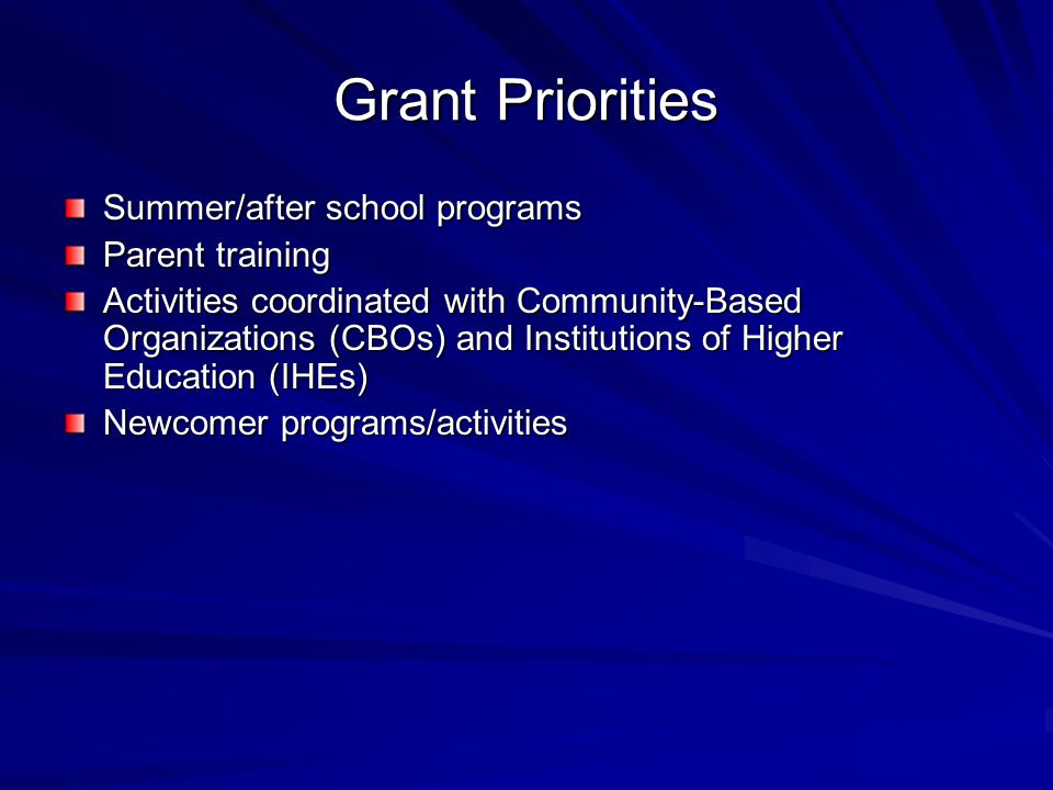 Grant Priorities Summer/after school programs Parent training Activities coordinated with Community-Based Organizations (CBOs) and Institutions of Higher Education (IHEs) Newcomer programs/activities