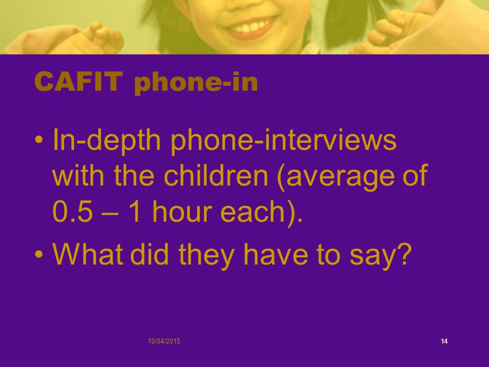 CAFIT phone-in In-depth phone-interviews with the children (average of 0.5 – 1 hour each).