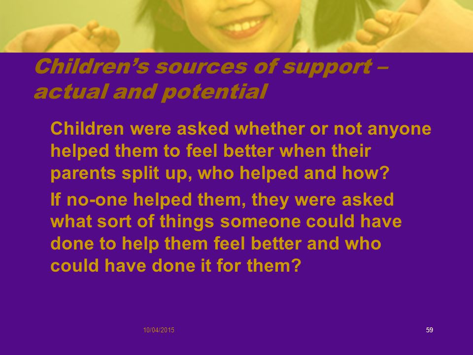 10/04/201559 Children's sources of support – actual and potential Children were asked whether or not anyone helped them to feel better when their parents split up, who helped and how.