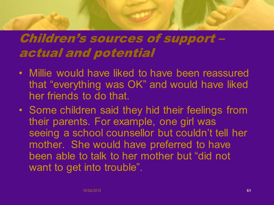 10/04/201561 Children's sources of support – actual and potential Millie would have liked to have been reassured that everything was OK and would have liked her friends to do that.