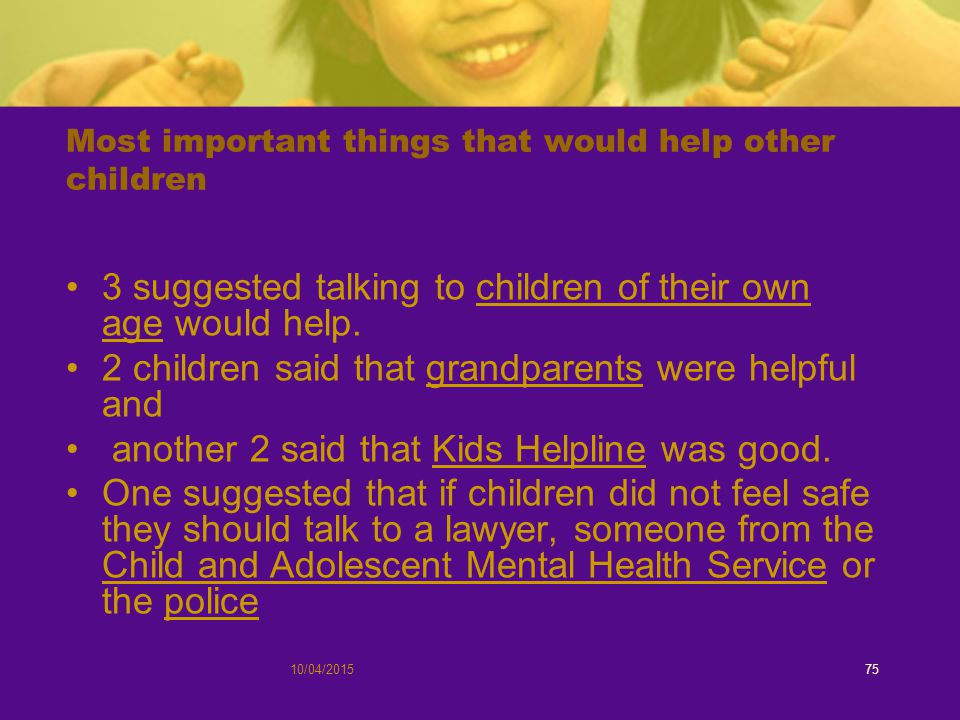 Most important things that would help other children 3 suggested talking to children of their own age would help.