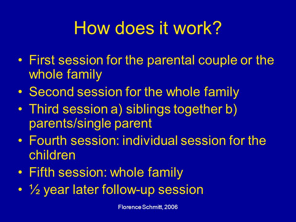 Florence Schmitt, 2006 How does it work? First session for the parental couple or the whole family Second session for the whole family Third session a