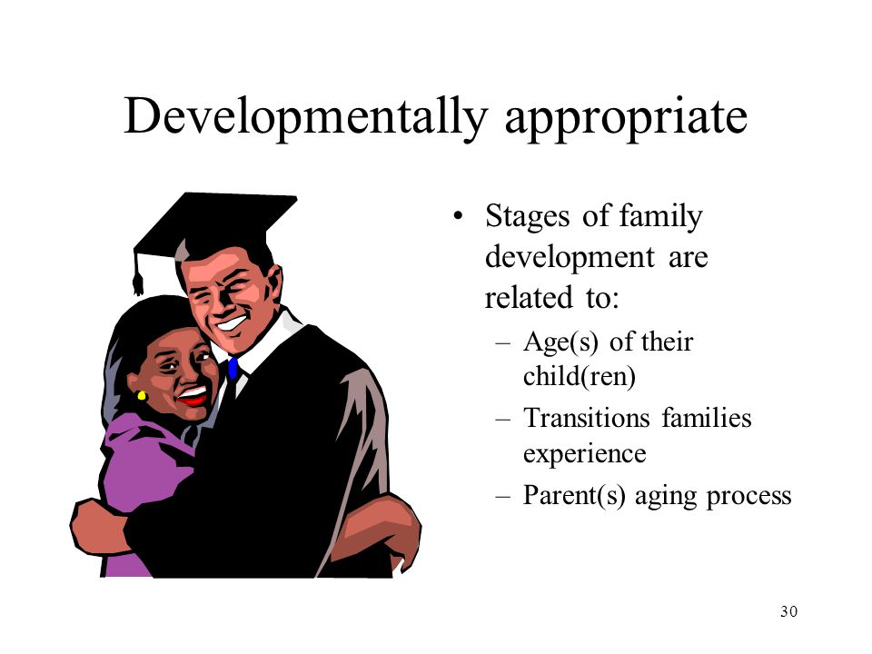 30 Developmentally appropriate Stages of family development are related to: –Age(s) of their child(ren) –Transitions families experience –Parent(s) ag