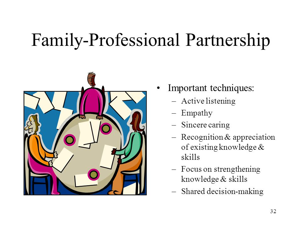 32 Family-Professional Partnership Important techniques: –Active listening –Empathy –Sincere caring –Recognition & appreciation of existing knowledge