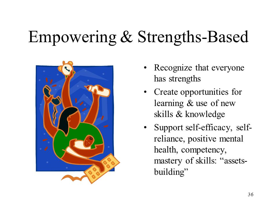 36 Empowering & Strengths-Based Recognize that everyone has strengths Create opportunities for learning & use of new skills & knowledge Support self-e