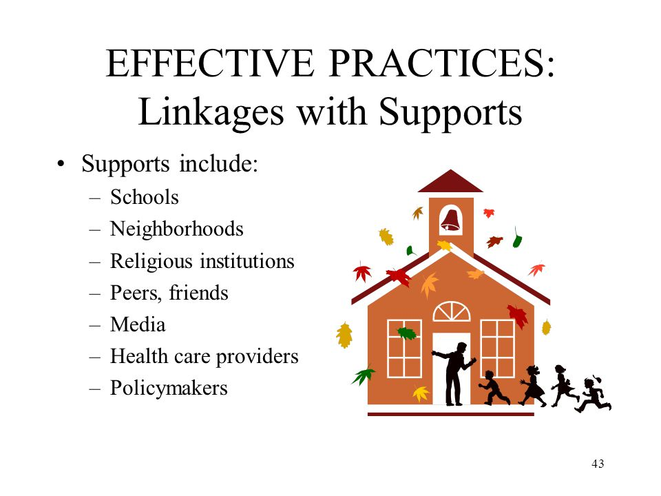 43 EFFECTIVE PRACTICES: Linkages with Supports Supports include: –Schools –Neighborhoods –Religious institutions –Peers, friends –Media –Health care p