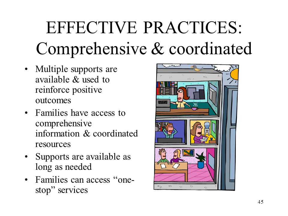 45 EFFECTIVE PRACTICES: Comprehensive & coordinated Multiple supports are available & used to reinforce positive outcomes Families have access to comp