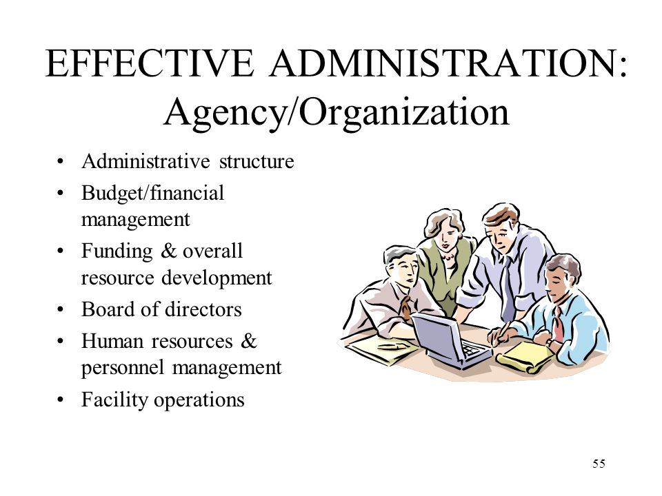 55 EFFECTIVE ADMINISTRATION: Agency/Organization Administrative structure Budget/financial management Funding & overall resource development Board of