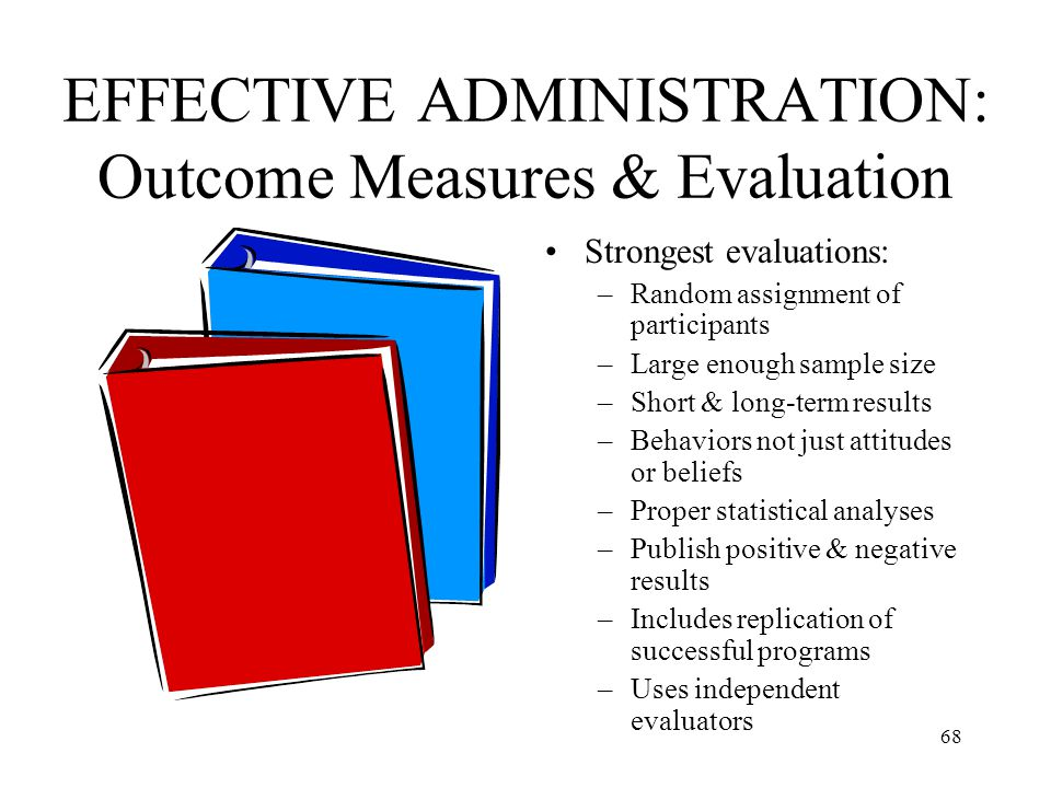 68 EFFECTIVE ADMINISTRATION: Outcome Measures & Evaluation Strongest evaluations: –Random assignment of participants –Large enough sample size –Short