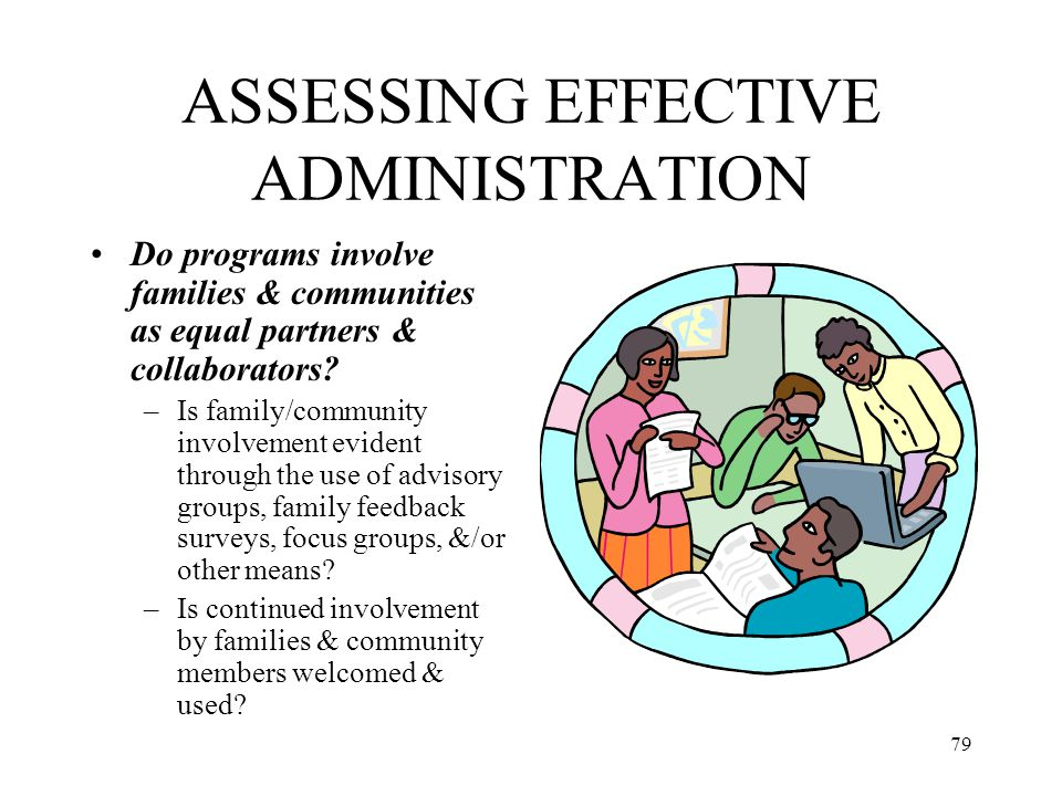 79 ASSESSING EFFECTIVE ADMINISTRATION Do programs involve families & communities as equal partners & collaborators? –Is family/community involvement e