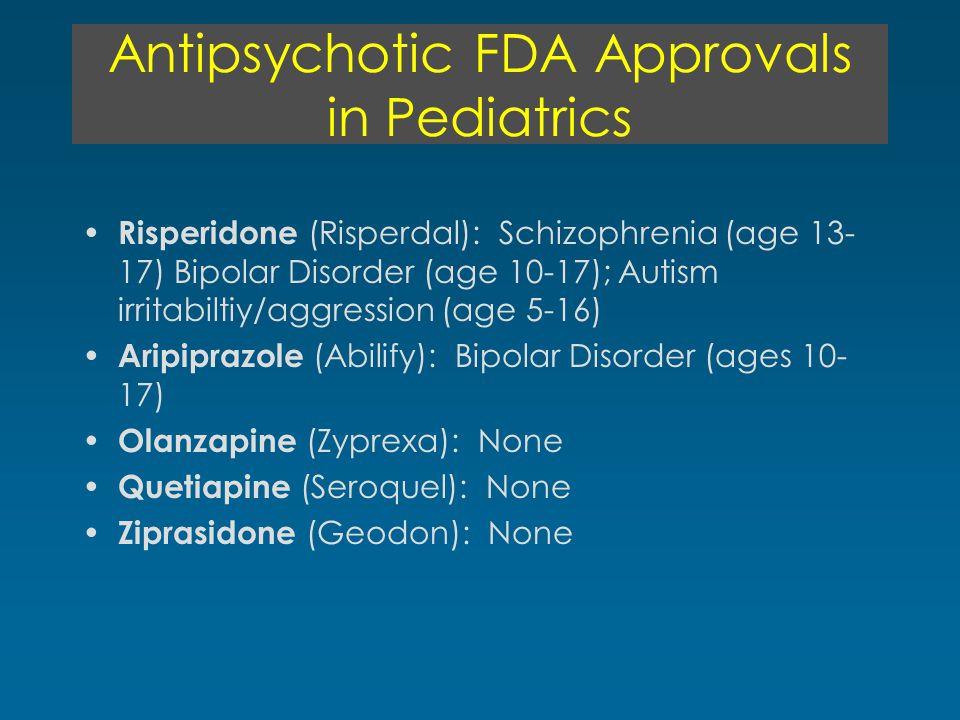 Antipsychotic FDA Approvals in Pediatrics Risperidone (Risperdal): Schizophrenia (age 13- 17) Bipolar Disorder (age 10-17); Autism irritabiltiy/aggression (age 5-16) Aripiprazole (Abilify): Bipolar Disorder (ages 10- 17) Olanzapine (Zyprexa): None Quetiapine (Seroquel): None Ziprasidone (Geodon): None