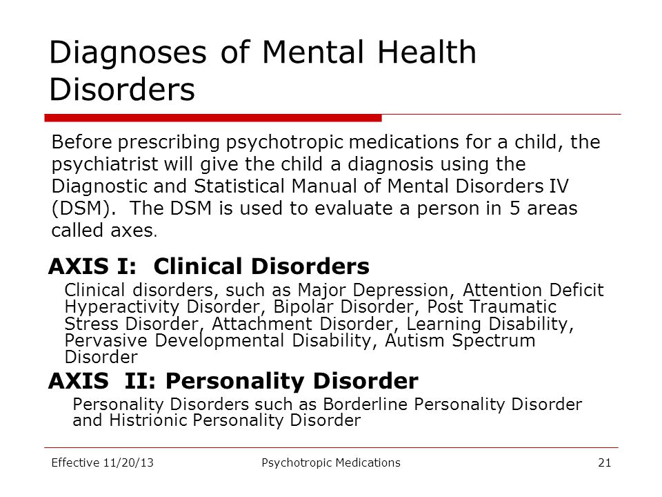 Diagnoses of Mental Health Disorders AXIS I: Clinical Disorders Clinical disorders, such as Major Depression, Attention Deficit Hyperactivity Disorder