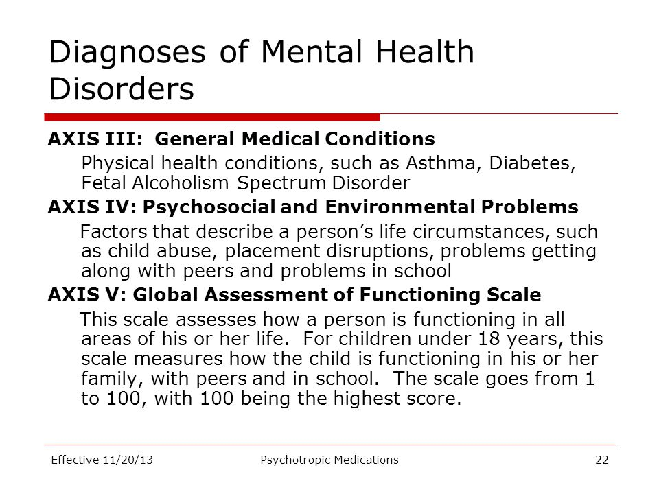 Diagnoses of Mental Health Disorders AXIS III: General Medical Conditions Physical health conditions, such as Asthma, Diabetes, Fetal Alcoholism Spect