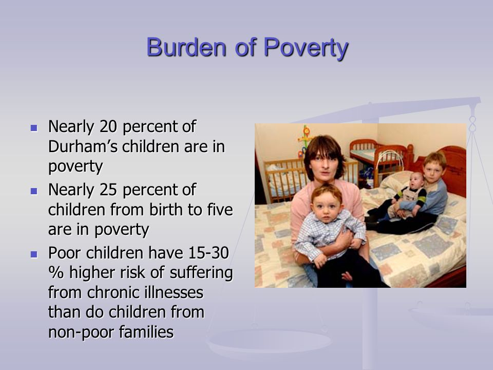 Burden of Poverty Nearly 20 percent of Durham's children are in poverty Nearly 20 percent of Durham's children are in poverty Nearly 25 percent of chi