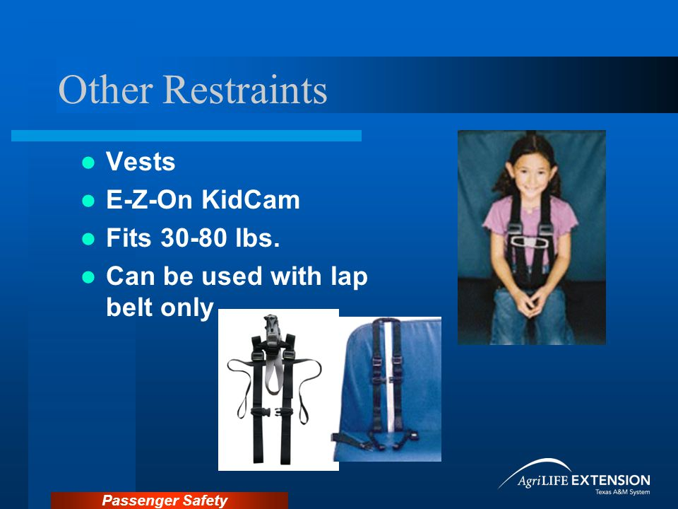 Passenger Safety Other Restraints Vests E-Z-On KidCam Fits 30-80 lbs.