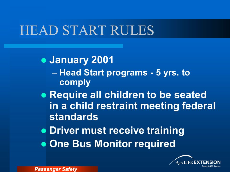 Passenger Safety Recalls Recall Lists on NHTSA Web site NHTSA: – http://www.nhtsa.dot.gov – AUTO SAFETY HOTLINE – 1-888-DASH-2-DOT Child Safety Seat Manufacturer
