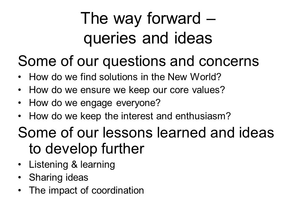 The way forward – queries and ideas Some of our questions and concerns How do we find solutions in the New World? How do we ensure we keep our core va
