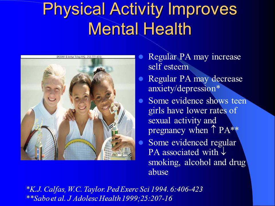 Physical Activity Improves Mental Health Regular PA may increase self esteem Regular PA may decrease anxiety/depression* Some evidence shows teen girls have lower rates of sexual activity and pregnancy when  PA** Some evidenced regular PA associated with  smoking, alcohol and drug abuse *K.J.