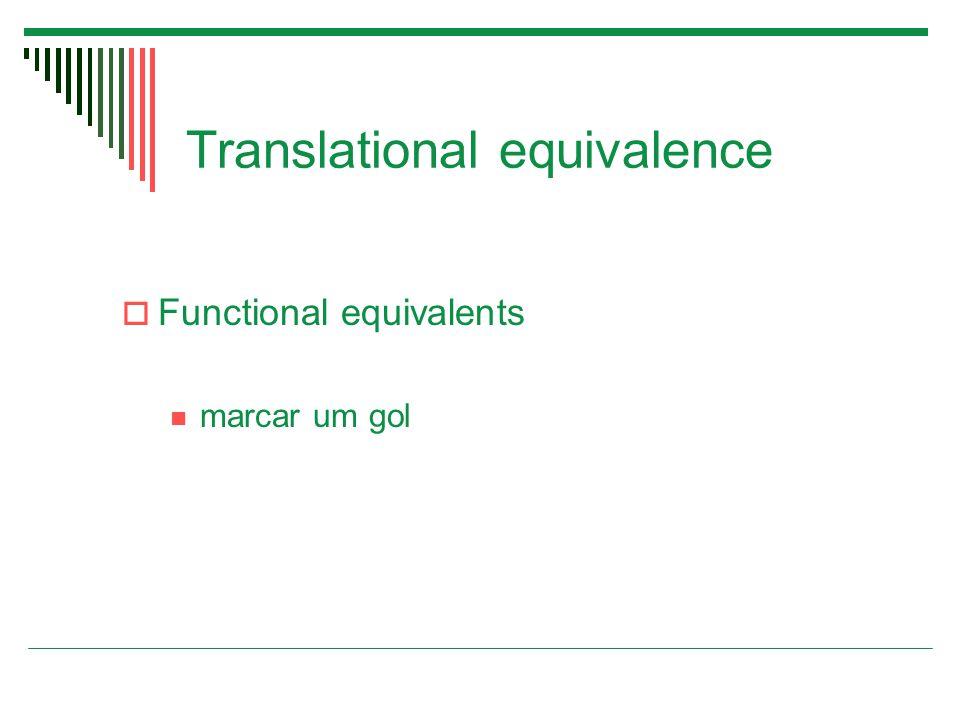 Translational equivalence  Functional equivalents marcar um gol