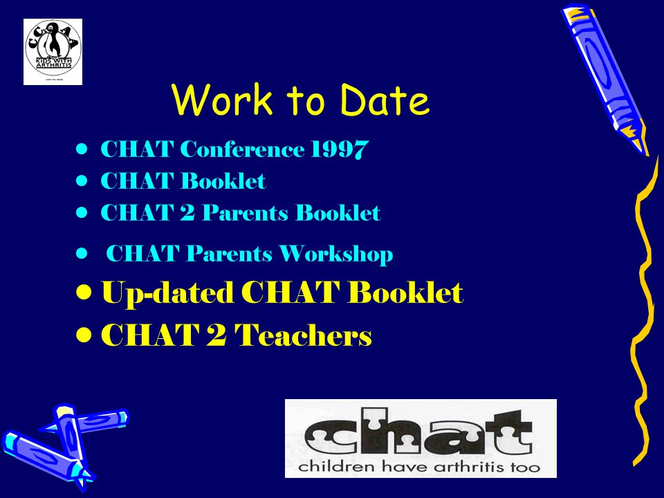 Work to Date CHAT Conference 1997 CHAT Booklet CHAT 2 Parents Booklet CHAT Parents Workshop Up-dated CHAT Booklet CHAT 2 Teachers