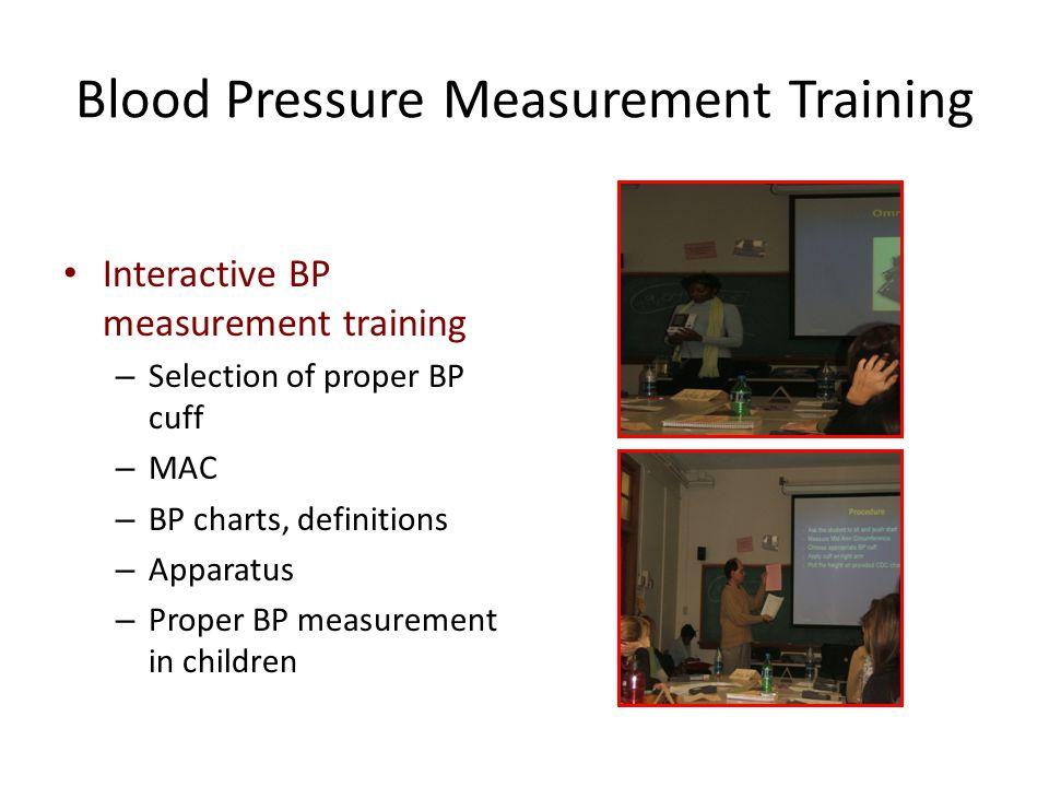 Blood Pressure Measurement Training Interactive BP measurement training – Selection of proper BP cuff – MAC – BP charts, definitions – Apparatus – Pro