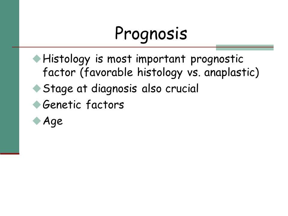 Prognosis u Histology is most important prognostic factor (favorable histology vs. anaplastic) u Stage at diagnosis also crucial u Genetic factors u A
