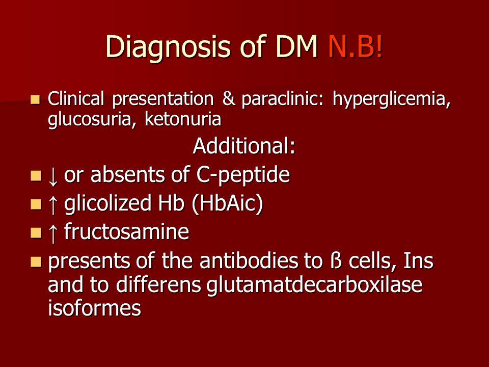 Diagnosis of DM N.B! Clinical presentation & paraclinic: hyperglicemia, glucosuria, ketonuria Clinical presentation & paraclinic: hyperglicemia, gluco