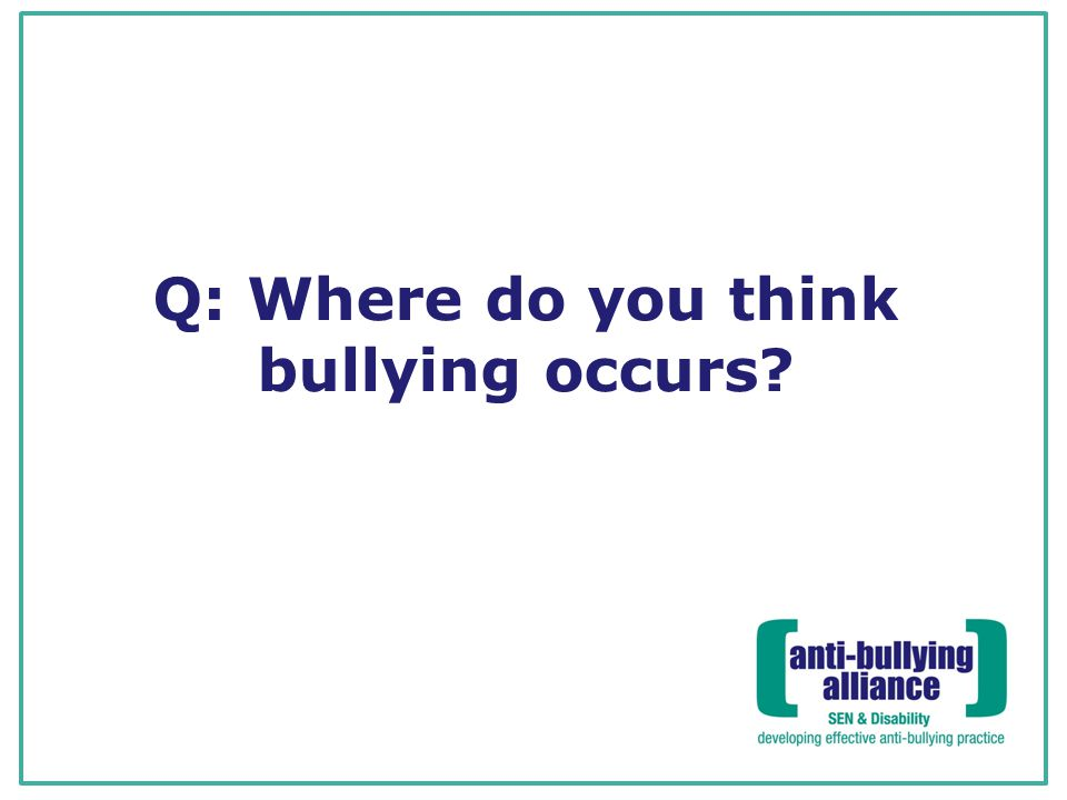 Q: Where do you think bullying occurs?
