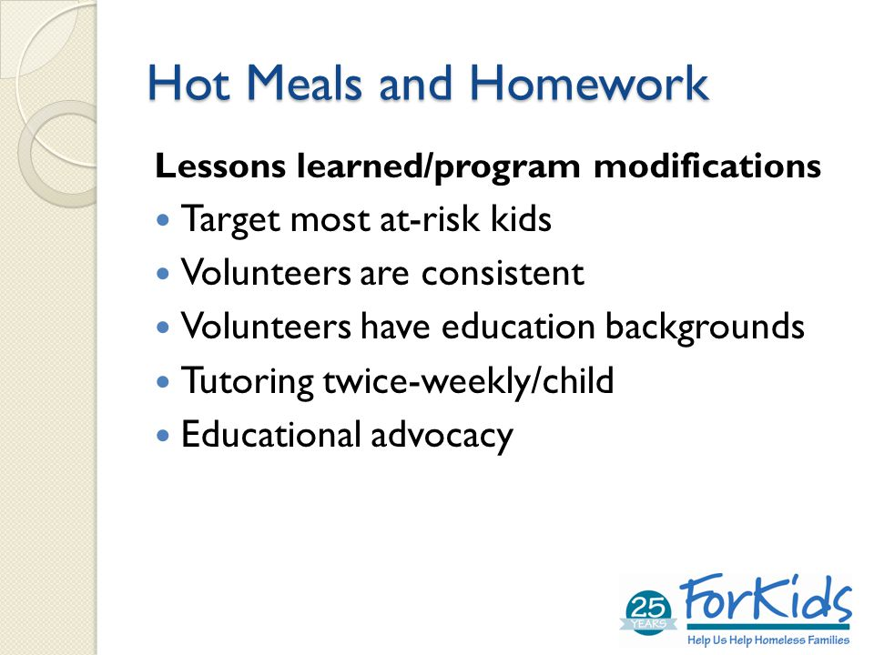 Hot Meals and Homework Lessons learned/program modifications Target most at-risk kids Volunteers are consistent Volunteers have education backgrounds Tutoring twice-weekly/child Educational advocacy