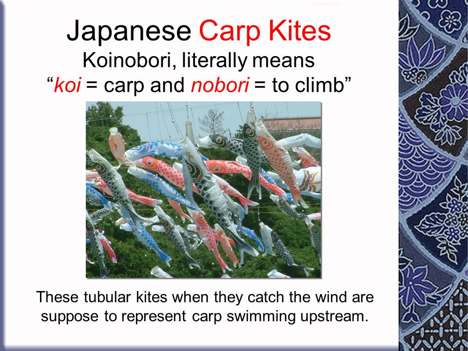 On Children's Day, children fly kites - often in the shape of carp. Carp are strong and brave fish that swim upstream, so Japanese parents want their
