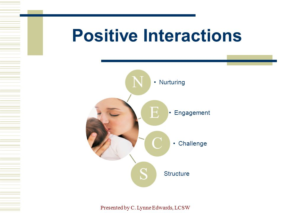Positive Interactions N Nurturing E Engagement C Challenge S Structure Presented by C. Lynne Edwards, LCSW