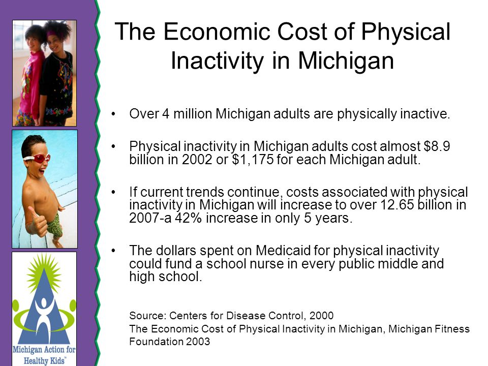 The Economic Cost of Physical Inactivity in Michigan Over 4 million Michigan adults are physically inactive.