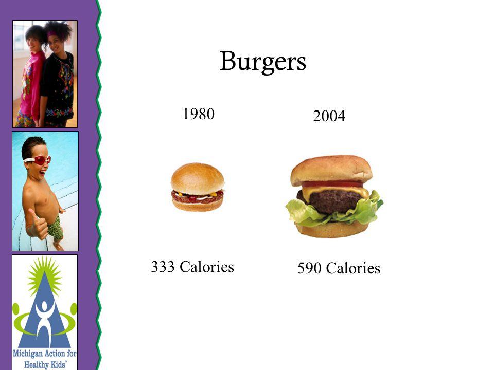 Burgers 1980 2004 333 Calories 590 Calories