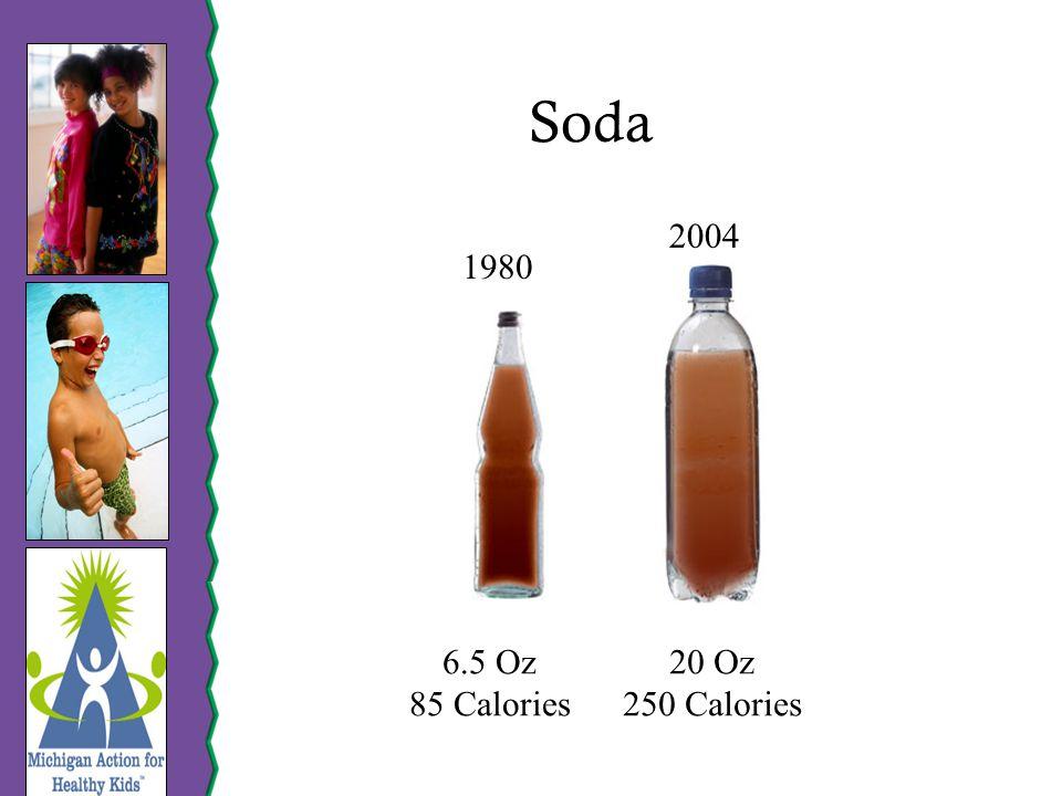 Soda 1980 2004 6.5 Oz 85 Calories 20 Oz 250 Calories