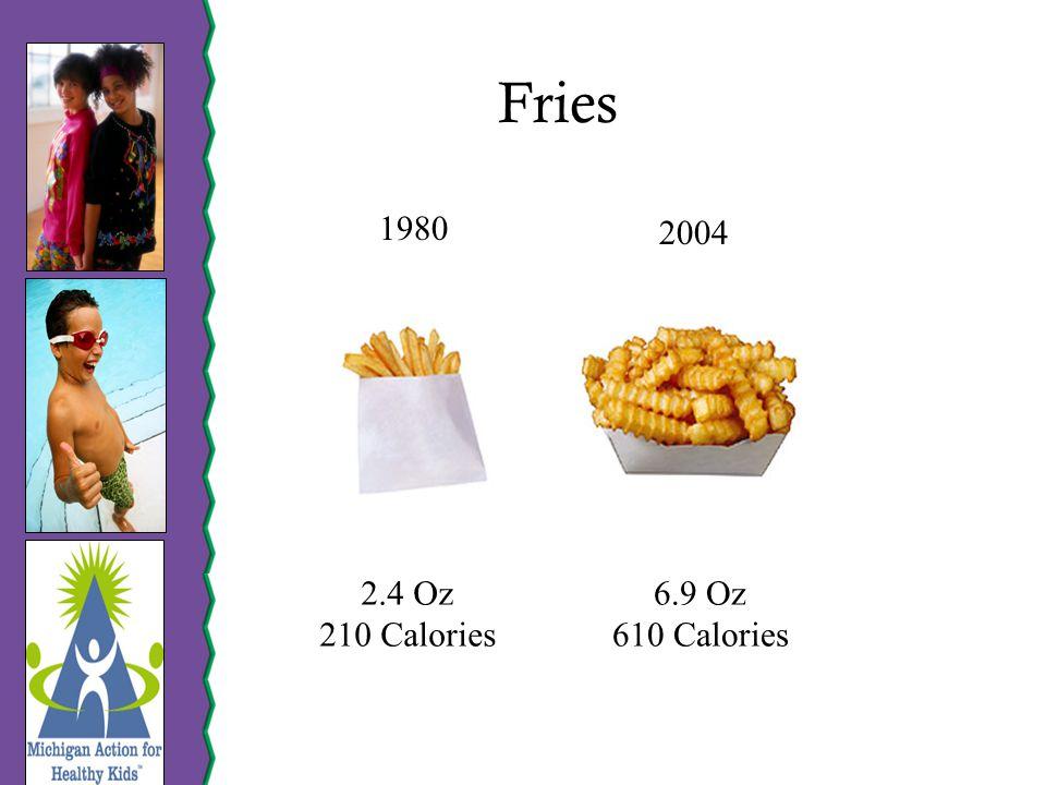 Fries 1980 2004 2.4 Oz 210 Calories 6.9 Oz 610 Calories