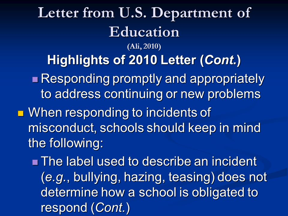 Letter from U.S.
