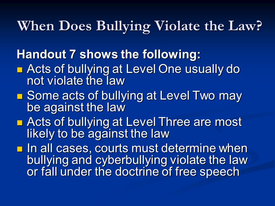 When Does Bullying Violate the Law.