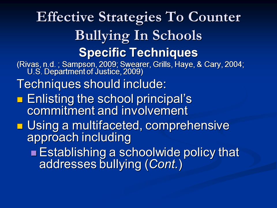 Effective Strategies To Counter Bullying In Schools Specific Techniques (Rivas, n.d.