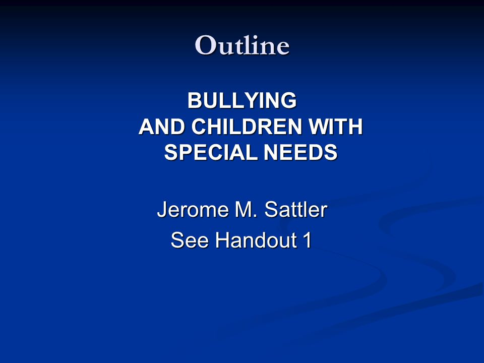 Key Points About Bullying and Students with Special Needs Bullying may interfere with student's compliance with treatment regimens Bullying may interfere with student's compliance with treatment regimens Students may view school as a place to normalize their lives and bullying makes schools: Students may view school as a place to normalize their lives and bullying makes schools: Less desirable Less desirable And even places to be avoided And even places to be avoided