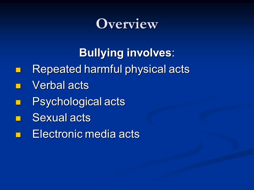 Students with Special Needs Overview (Cont.) Not be able to distinguish good-natured kidding from bullying Not be able to distinguish good-natured kidding from bullying Be too literal or unable to understand nuances and jokes, which they may interpret as bullying (Cont.) Be too literal or unable to understand nuances and jokes, which they may interpret as bullying (Cont.)