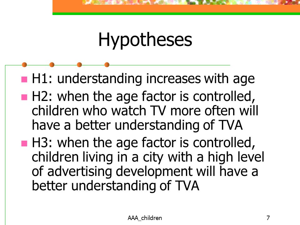 AAA_children7 Hypotheses H1: understanding increases with age H2: when the age factor is controlled, children who watch TV more often will have a better understanding of TVA H3: when the age factor is controlled, children living in a city with a high level of advertising development will have a better understanding of TVA