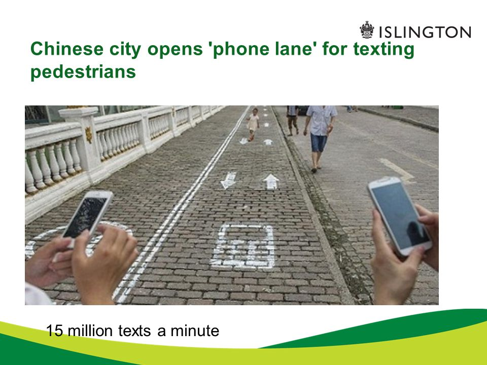 Chinese city opens phone lane for texting pedestrians 15 million texts a minute