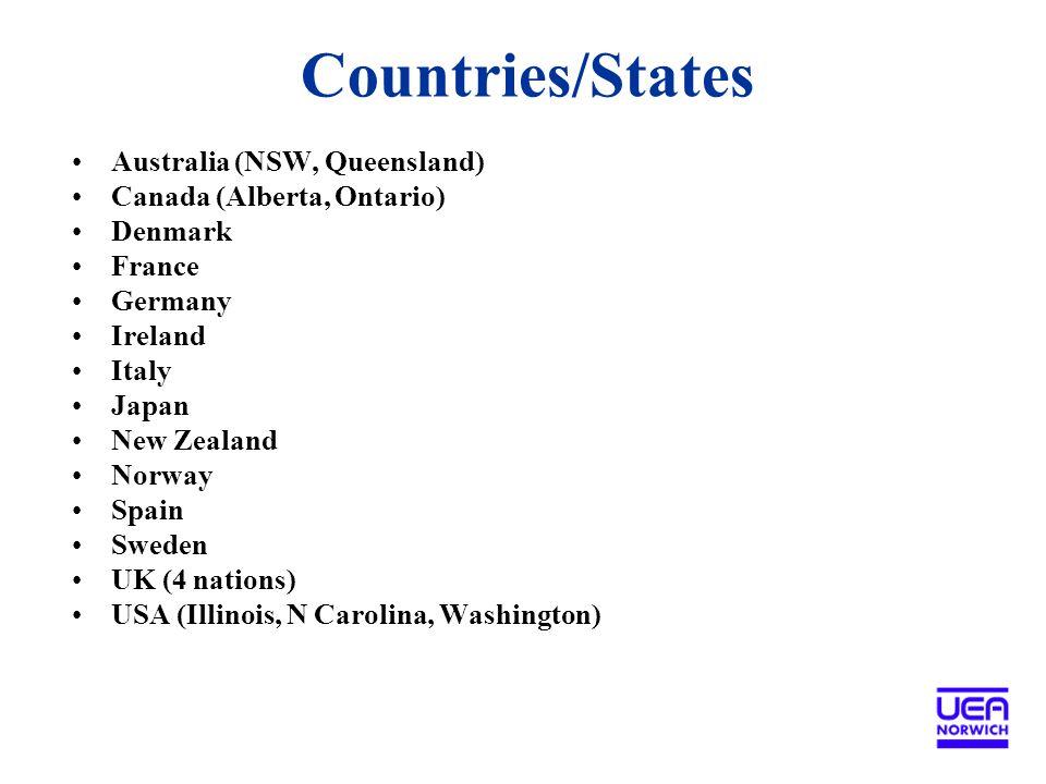 Countries/States Australia (NSW, Queensland) Canada (Alberta, Ontario) Denmark France Germany Ireland Italy Japan New Zealand Norway Spain Sweden UK (4 nations) USA (Illinois, N Carolina, Washington)