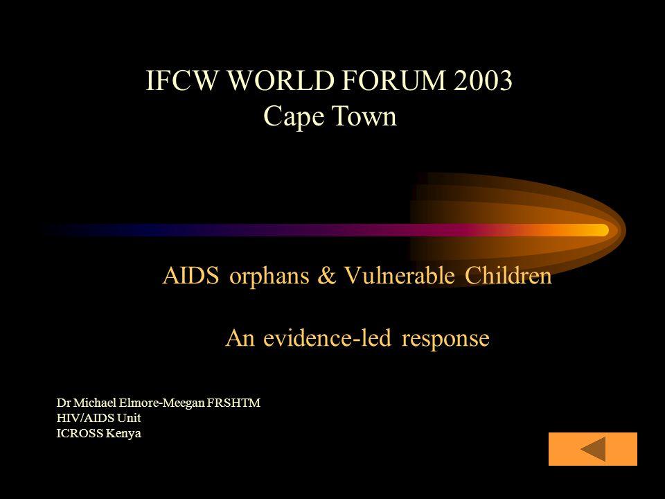 AIDS orphans & Vulnerable Children An evidence-led response Dr Michael Elmore-Meegan FRSHTM HIV/AIDS Unit ICROSS Kenya IFCW WORLD FORUM 2003 Cape Town